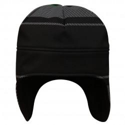 防風蓋耳帽 - 黑底白倾斜線