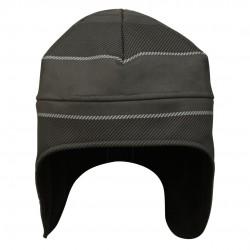 防風蓋耳帽 - 灰底黑倾斜線