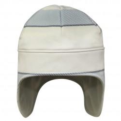 防風蓋耳帽 - 白底藍倾斜線
