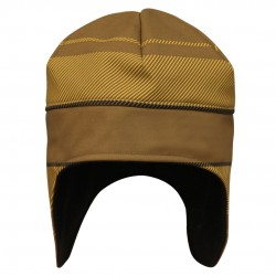 防風蓋耳帽 - 黃底棕倾斜線