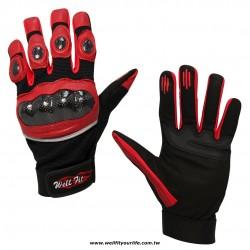 碳纖維皮革重機手套 - 紅色