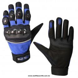碳纖維皮革重機手套 - 藍色