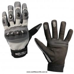 碳纖維皮革重機手套 - 灰色