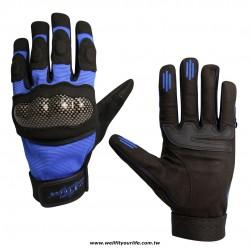 格紋保護殼重機手套 - 藍色