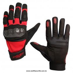 格紋保護殼重機手套 - 紅色