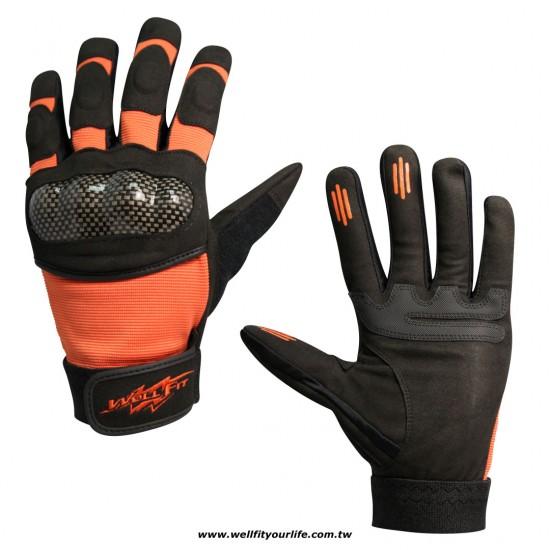 格紋保護殼重機手套 - 橘色