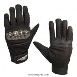 格紋保護殼重機手套 - 黑色