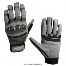 格紋保護殼重機手套 - 灰色