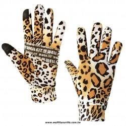 舒薄透氣觸控手套 - 豹紋